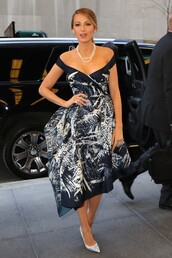 dress,gown,midi dress,blake lively,pumps,off the shoulder,pearl,shoes,strapless,black and white