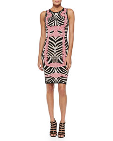 Behati Zebra-Jacquard Knit Dress