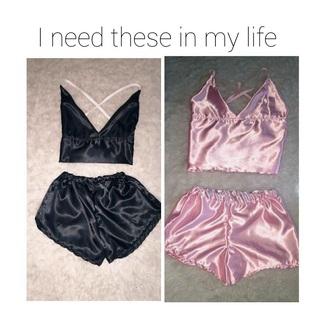pajamas silly pink tumblr girly sexy silk black cute saturn tank top pants silky top clothes silk pajamas two-piece underwear