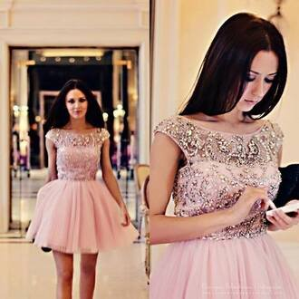 dress prom dress pink dress classy girly beautiful homecoming dress short prom dress diamonds rhinestones pink cute tulle skirt dimond nude colour glitzy short cute dress pretty cocktail dress short party dresses prom dress pink sparkle short embellished jewels sparkles