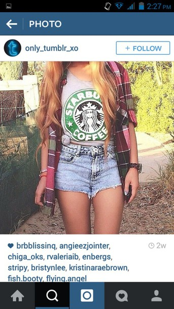 shorts denim tank top starbucks coffee hipster boho instagram