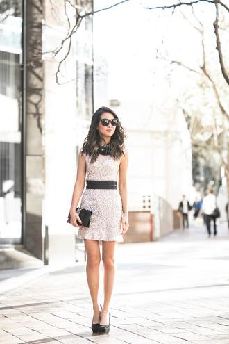 wendy's lookbook blogger sunglasses mini dress waist belt sequin dress black bag cluth black heels
