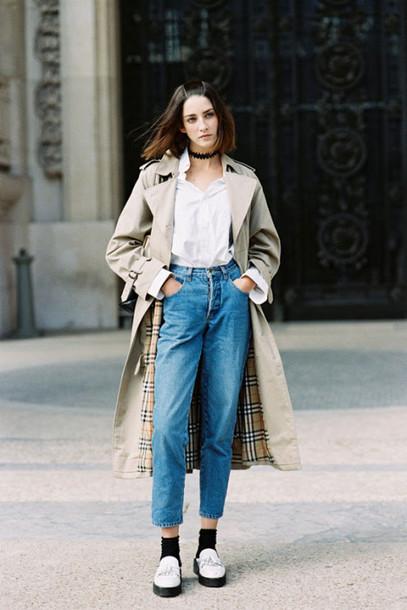 vanessa jackman blogger coat jeans long coat trench coat hipster