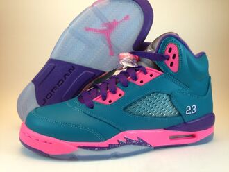 shoes jordans pink teal purple retro g% grey cute