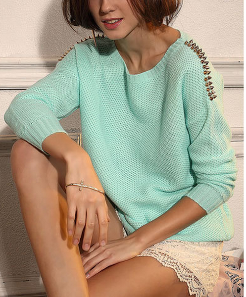 Round collar riveting sweater mint green