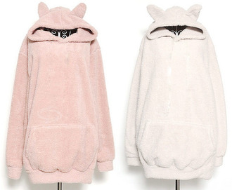 sweater cat ears sweatshirt pink white cats kawaii