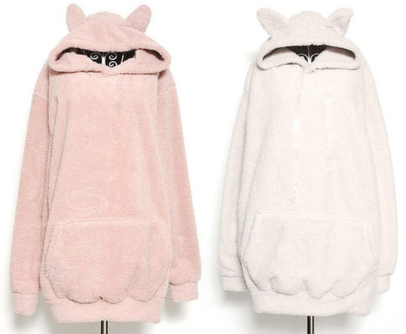 sweater pink cats white cat ears