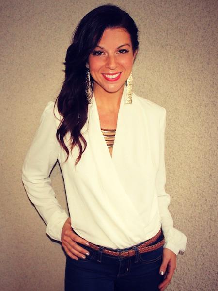 Megan wrap blouse bodysuit white