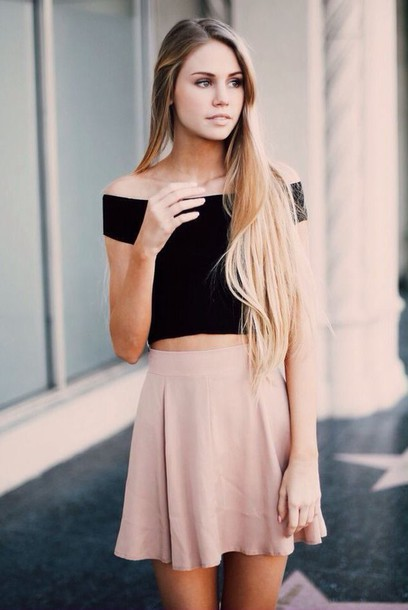 top girly pretty skirt off the shoulder black crop tops shirt skirt
