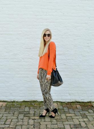 blogger jewels bag fash boulevard statement necklace orange printed pants