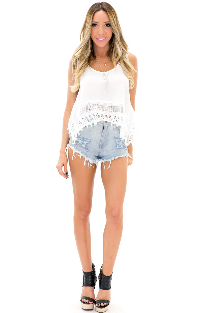 ESTER LACE CROP TOP - White | Haute & Rebellious