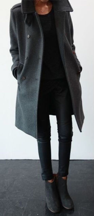 coat black jeans black grey winter outfits fall outfits pants
