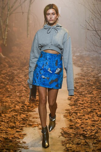 skirt mini skirt hailey baldwin model runway boots cropped hoodie paris fashion week 2017 fashion week 2017 off-white brand