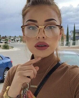 sunglasses glasses brown gold vintage retro frames eyeglasses