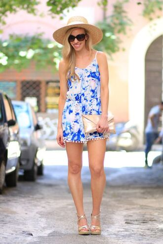 bag clutch metallic clutch gold bag romper floral romper blue romper hat straw hat sandals gold sandals wedges wedge sandals sunglasses summer outfits gold clutch
