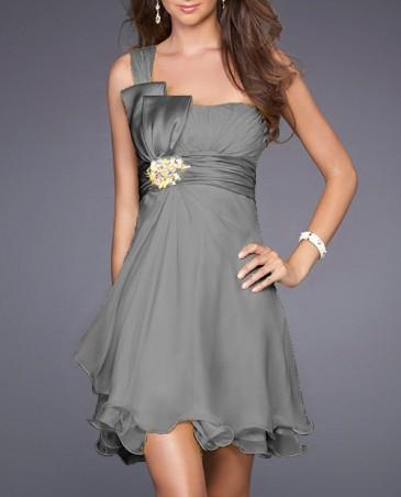 Ein-Schulter A-Linie Chiffon Kurze Brautjungfer Kleid Grau (HOD223) Perlen