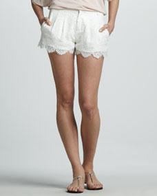 Haute Hippie Pleated Lace Shorts - Neiman Marcus