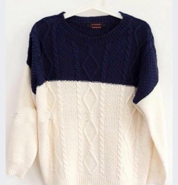 sweater blue white sweater