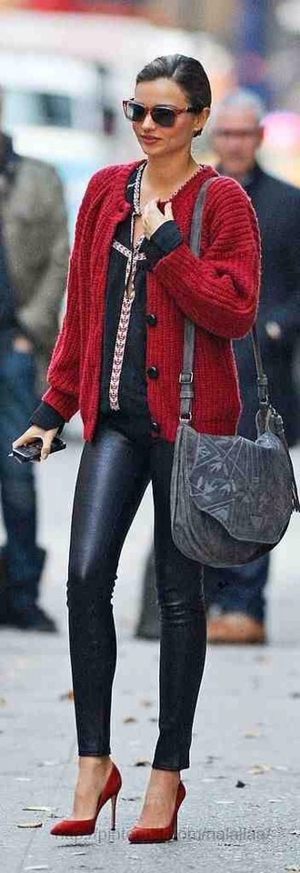 sweater red black leggings red heels miranda kerr
