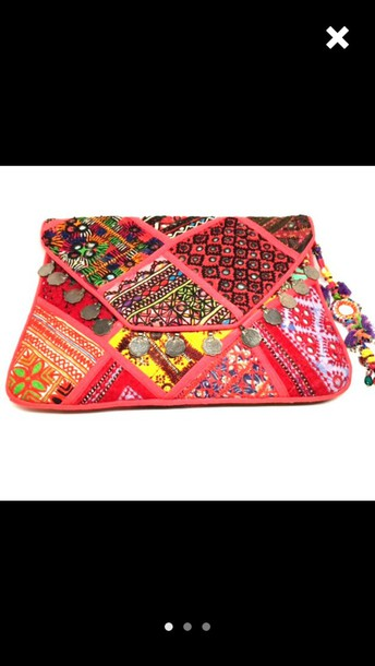 bag outfit clutch boho chic summer colorful pink dress india love beach jewels accessories