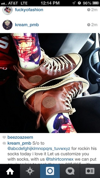 shoes converse leather sneakers high top sneakers skater sneakerhead brown shoes