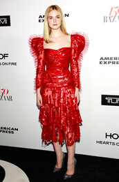 dress,red dress,red,elle fanning,midi dress