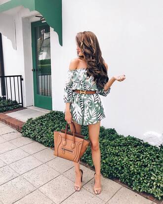 romper tumblr off the shoulder bag brown bag summer summer outfits sandals sandal heels high heel sandals belt shoes