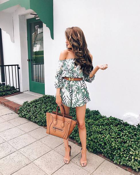a97f2ad78bdd romper tumblr off the shoulder bag brown bag summer summer outfits sandals  sandal heels high heel