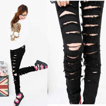 Black Punk Rock Women Ripped Skinny Pants Jeans Leggings Trousers WF 3787-in Jeans from Apparel & Accessories on Aliexpress.com