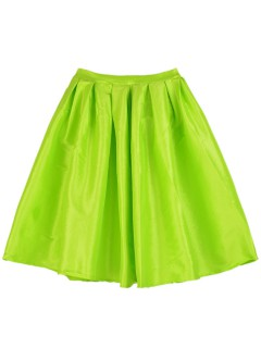 Fluorescent green pleated skater skirt