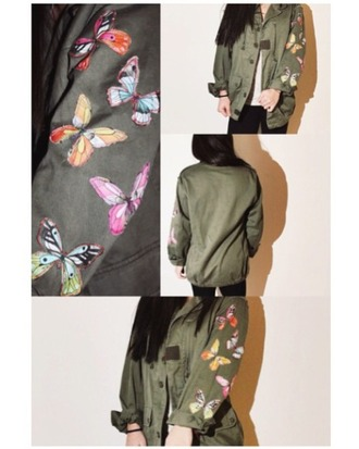 jacket army butterfly trendy army green jacket shirt
