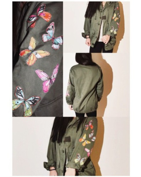 jacket camouflage butterfly trendy army green jacket shirt