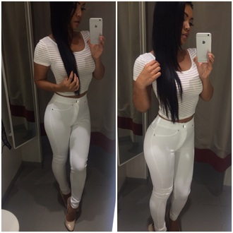 jeans white pants high waisted jeans white t-shirt white crop tops white top blouse