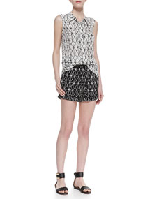 A.L.C. Ian Printed Sleeveless Silk Blouse & Marx Printed Relaxed Silk Shorts