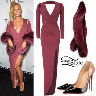 dress beyonce stilettos fur red carpet dress