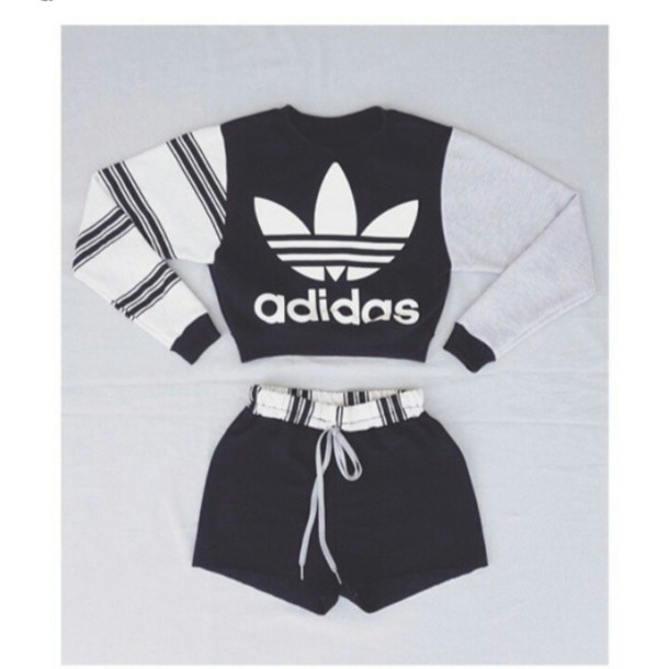 464a46081ce8 shirt top adidas clothing jumpsuit shorts adidas sweater grey white black  stripes jacket jumper instagram slim