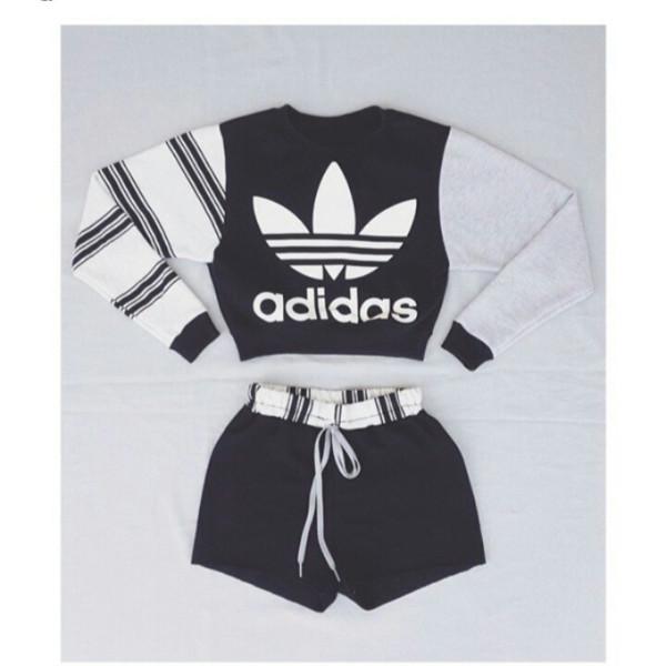 shirt top adidas clothing jumpsuit shorts adidas sweater grey white black stripes jacket jumper instagram slim jawn trendy fashion cool sweatshirt gym gym clothes