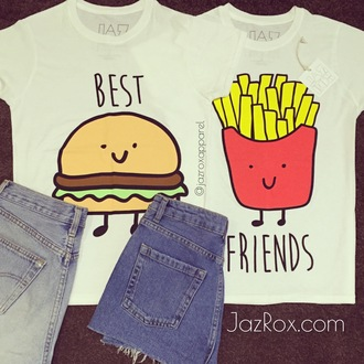 t-shirt jazrox hipster style girly girl lookbook tumblr instagram quote on it bff bff shirts bff t-shirts matching set best friends t-shirts burger and fries top hamburger fries food tshirt white t-shirt neon sexy cute cool fashion dope summer pretty trendy beach short pastel beautiful streetwear urban alternative swag hot kawaii tumblr girl cropped
