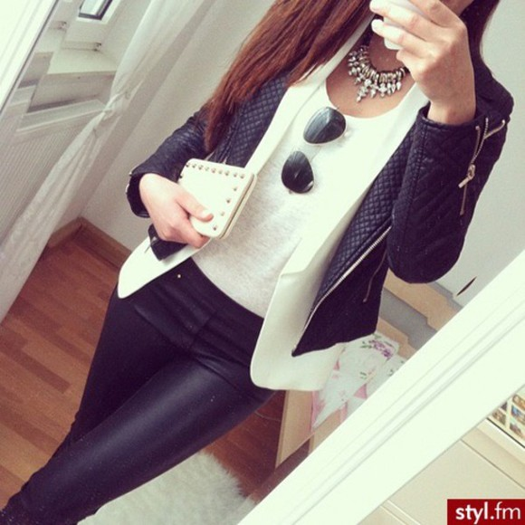 jacket black jeans pants leggings leather pants leather leggings leather jacket blazer white black leggings
