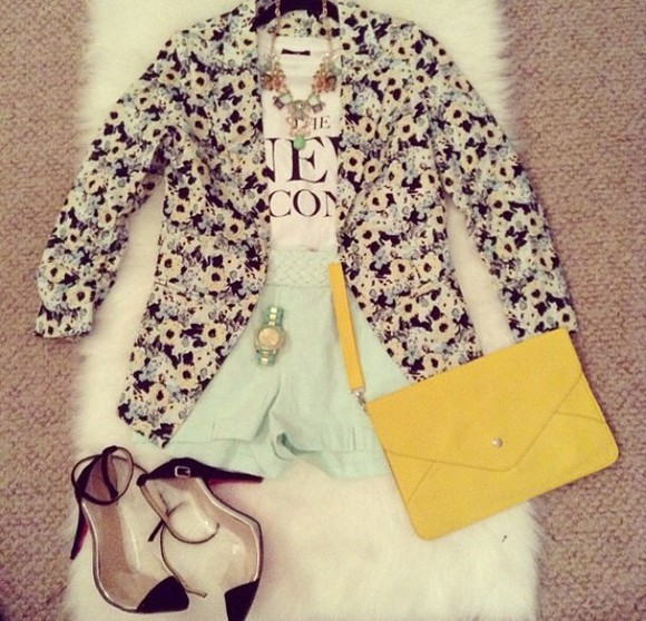 mint shirt jewels jacket t-shirt summer outfits floral shorts shoes summer to fall lemongrass mint watch watch