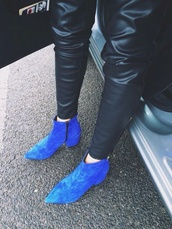 shoes,cobalt,cobalt blue,blue boots,suede boots,heel boots,ankle boots,pointed boots,boots,leather,pu trousers