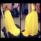 dress,prom dress,long dress,maxi dress,summer dress,yellow,yellow dress,plunge neckline,yellow beautiful dress,yellow need now!,summer,nice,silk dress,silky,silk,cross back dress,deep plunge neckline,deep neck,dress #maxidress #backless #flowers,plunge neck maxi,homecoming dress,yellow gown,yellow maxi