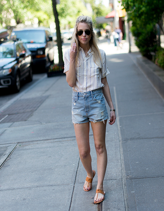 yael steren blogger top shorts sunglasses shoes jewels make-up