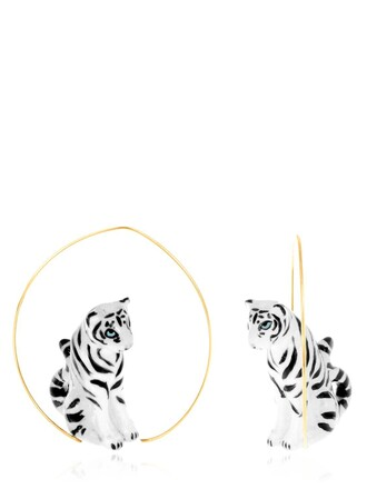 tiger earrings white black jewels
