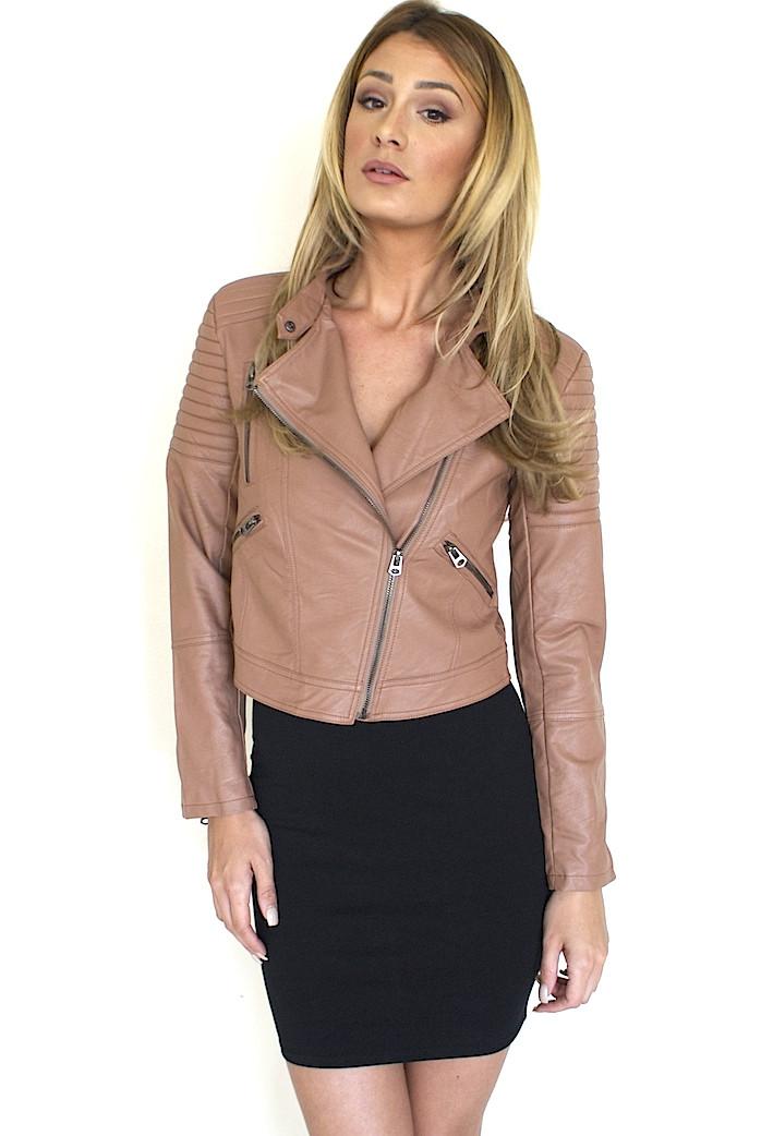 Moto blush leather jacket – colors of aurora