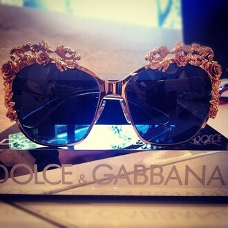 clothes sliver sunglasses docle and gabbana rose gold roses summer