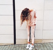 tracksuit,cool,hot,leggings,suits for women,suit,pink black stripe shirt sweatshirt,shoes,markina,shirt,pants,jumpsuit,pink,stripes,sweatpants,light orange,black stripe,top,sweater,nude,blouse,t-shirt,light pink,cute pants,joggers,long sleeves,cute sweater,casual,set,perfect set,black,sweats,two-piece,this thing