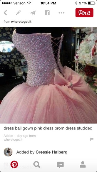 dress tulle dress pink dress rhinestones