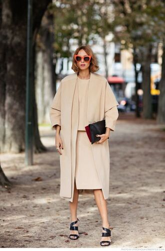 coat all beige everything sandals sandal heels high heel sandals bag beige coat skirt beige skirt beige top top matching set sunglasses red sunglasses streetstyle