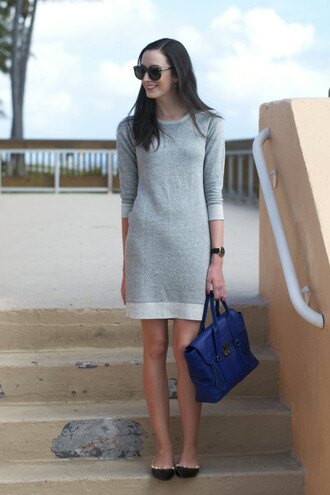 the glam files blogger satchel bag blue bag knitted dress grey dress knitted mini dress mini dress sunglasses tortoise shell sunglasses tortoise shell bag flats pointed flats black flats mini knit dress grey knit dress